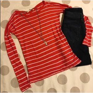 BB Dakota Tops - BB Dakota linen red & white striped dolman top